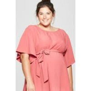 3X Isabel Maternity Coral Tie Front Top